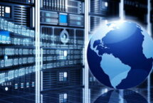 Stock photo of world with binary numbers and servers in background