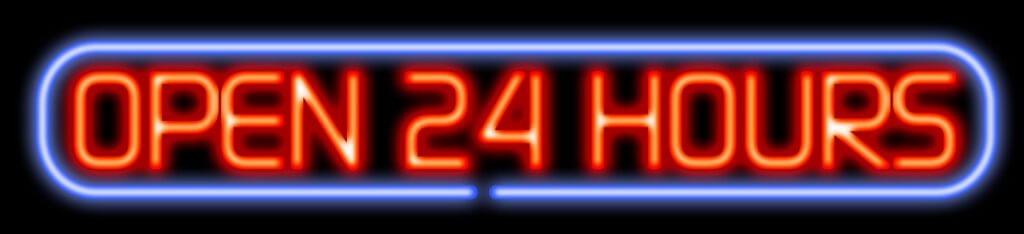 "Stock photo of ""Open 24 hours"" LED sign"