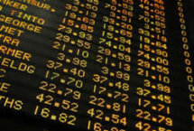 Stock photo of stock exchange ticker with prices