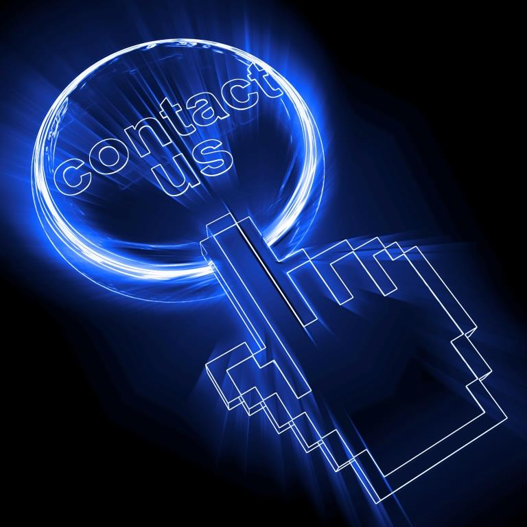"Stock photo of contact us stock image: A blue circle around ""contact us"" and a blue hand cursor on top of the circle"