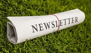 "Stock photo of newspaper lying on grass wrapped in rubber band with ""Newsletter"" heading"