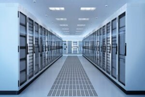 Stock photo of server room with lights and temperature-controlled servers