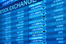 Stock photo of blue stock exchange ticker with up and down arrows