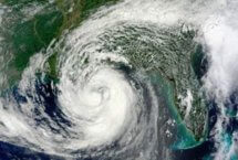 Stock photo of bird's eye view of hurricane