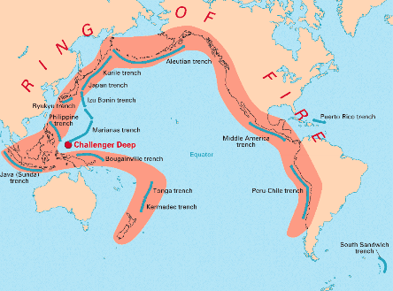 Map of ring of fire