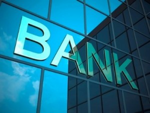"Stock photo of ""bank"" on glass window"