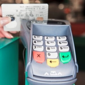 Stock photo of an EDC debit/credit card reading machine