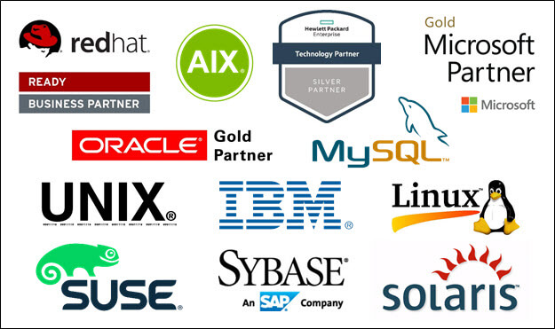 Shadowbase partners include but are not limited to Redhat, HPE, Microsoft, Linux, Oracle, IBM, Sybase, AIX, MySQL, UNIX, SuSE, and solaris