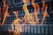 Stock photo of server room on fire