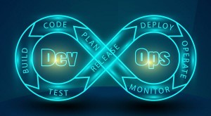 "Dev Ops stock image, with text build, code, plan, monitor, operate, deploy, release, and test in a figure-eight around ""Dev"" and ""Ops"""