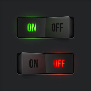 "Stock photo of two switches, one is switched ""on"" and the other is ""off"""
